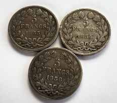 France - 5 Francs 1833-A, 1834-A, and 1838-W (lot of 3 coins) - silver