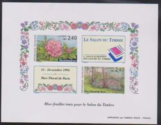 France 1993 - Gummed and imperforated sheet block (130 mm x 100 mm) - Stamp lounge of the Parc Floral of Paris