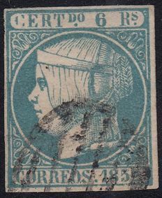 Spain 1852 - Isabel II, 6 reales blue Marked Roig - Edifil 16
