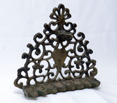 Judaica - Back Oil Menorah - Hannukiah - Sculptural Bronze - Arabesque - Morocco- ca. 1920's