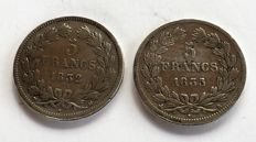 France - 5 Francs 1832-MA & 1835-B (lot de 2 monnaies) - Louis Philippe - argent