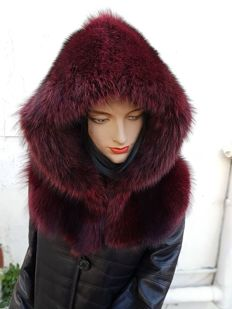 Painted fox fur hood (made in Italy)