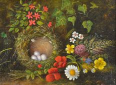 H Thompson (19th/20th century) A birds nest surrounded by flowers.