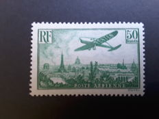 France 1936 - Air mail stamp, Plane over Paris 50 f. green-yellow - Yvert PA no. 14