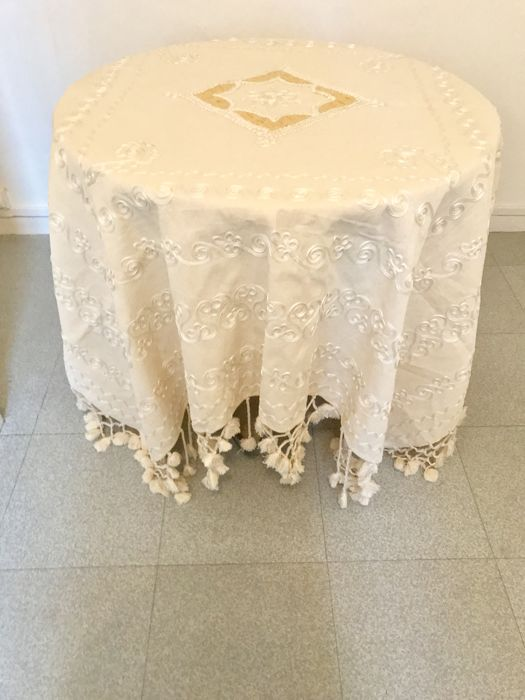Elegant vintage tablecloth, thick, decorated with laces