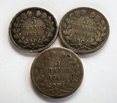 France - 5 Francs 1834-A, 1838-A, 1840-A (lot of 3 coins) - Silver