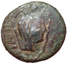 The Greek Antiquity - Sicily, Lilybaion, L. Sempronius Atratinus, c. 36 BC - Æ As (Bronze, 27,5mm, 18,92g) - Veiled and turreted head / Serpent around tripod - RPC I 655; CNS I, 15; SNG ANS 282-283