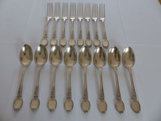 "8 ""regency"" silverware settings, CHRISTOFLE, Paris, 1844."