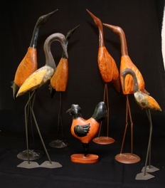 Collection of Seven Metal Birds with Wood - 20th century