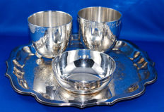 Heavily silver plated serving tray with 2 cups and a bowl