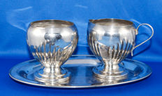 Silver plated Art Deco sugar and milk set on serving tray - 1920