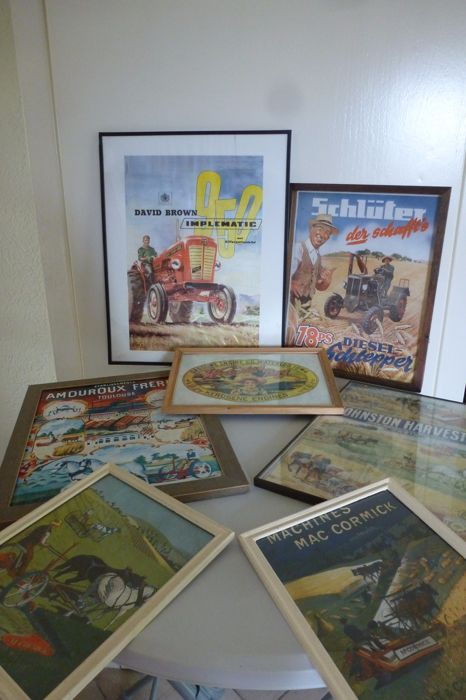 7 x framed advertising for agricultural machines
