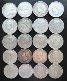 Spain - Lot of 20 coins - 20 x 5 pesetas of 1870 to 1898 - Provisional Government - 1870, Amadeo I - 1871, Alfonso XII-XIII SN.M, SD.M. DE.M. SG.V--VF