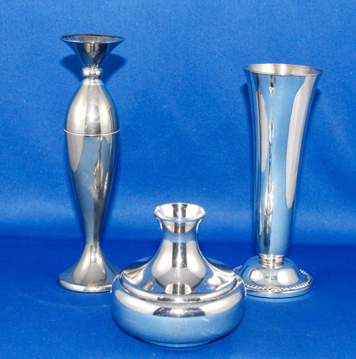3 Heavy silver plated vases - 1920