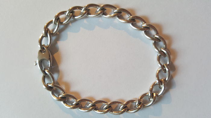 14 kt White gold link bracelet with a lobster clasp, 20 cm