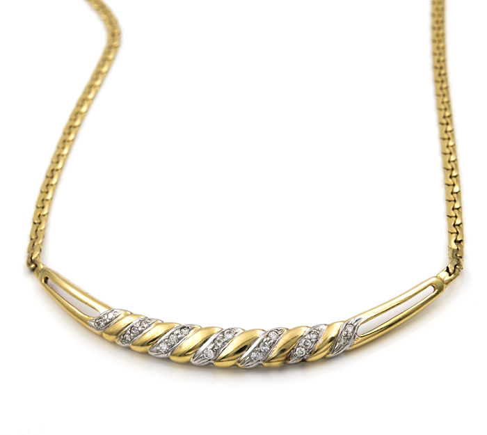 18 kt Bi-colour gold - Articulated choker with pendant - Diamonds 0.40 ct