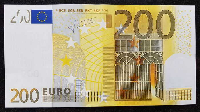 Europen Union - Germany - €200 Euro 2002 - Trichet - White Box  without HOLOGRAM  -  ERROR  note