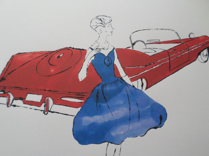 Andy Warhol - lithograph on wove paper, Woman And Car - Plymouth Fury