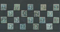 The Netherlands 1852 - King Willem III, First emission - NVPH 1 (18x), 2 (18x)