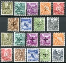 Switzerland 1937 -  Officials, perforated cross with smooth + granular gum - Michel 19yz/27yz
