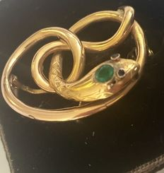 Gold brooch with serpents, France, approx. 1900