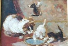 Unknown artist (1st half of the 20th century) - Mother cat with kittens at play