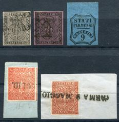 Parma 1852/1857 -  Lily surmounted by crown and Newspaper stamp - Sass. NN. 3, 4, 7, 8 and Newspaper N. 2