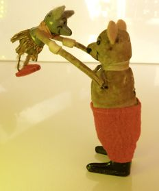 Schuco, Germany - Height 11 cm -  Wind-up Dancing Mice, 1930s
