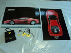 Lot of no. 2 Ferrari lithographs + no. 6 original Ferrari gadgets