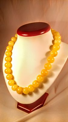Round beads modified Baltic Amber Egg yolk color necklace, length 50 cm, 71 grams