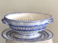 Flow Blue Ironstone Chestnut basket -W Smith Stockton on Tees - England - circa 1840