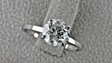 1.34 ct  round diamond ring made of 14 kt white gold *** NO RESERVE PRICE ***