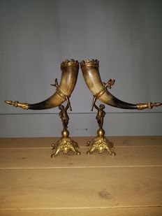 Pair of Horns of abundance with bronze accents - France, ca. 1900