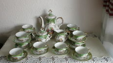 Beautiful mocha coffee set for 12 people, Veritable Porcelaine, made in Italy, 50s/60s