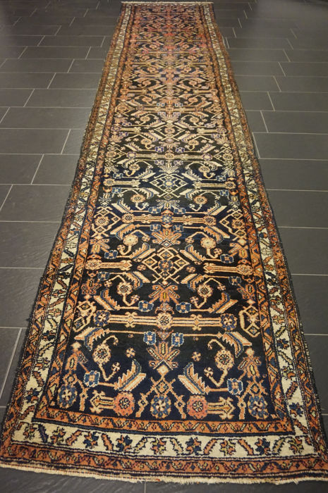 Unique Persian carpet Malayer Sarouk Mahal runner excellent wool natural colours made in Iran 110X500 cm