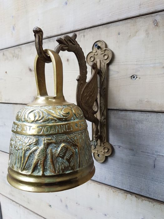 Very large decorated bronze monastery bell