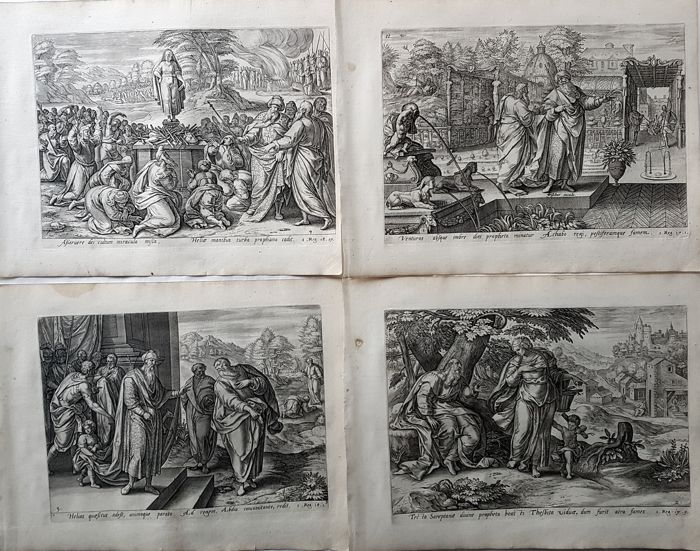 Complete set of 4 prints by Gerard de Jode (1509–1591) after Jan Snellinck, published by Visscher -  The story of Elijah - 17th century
