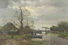 Unknown (20th century)  - Hollands Landschap met figuren