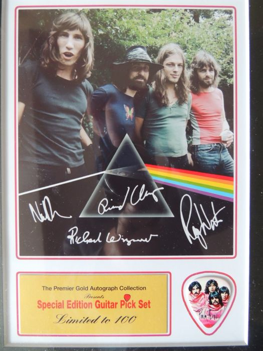 Stunning Classic - Pink Floyd - Pre Printed Signed Picture - Special Edition Guitar Pick Set - Limited Edition -