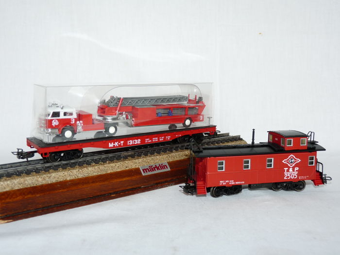 "Märklin H0 - 4580 - Two part set USA Caboose and Fire Department 4-axle ""150 Years Texas"""