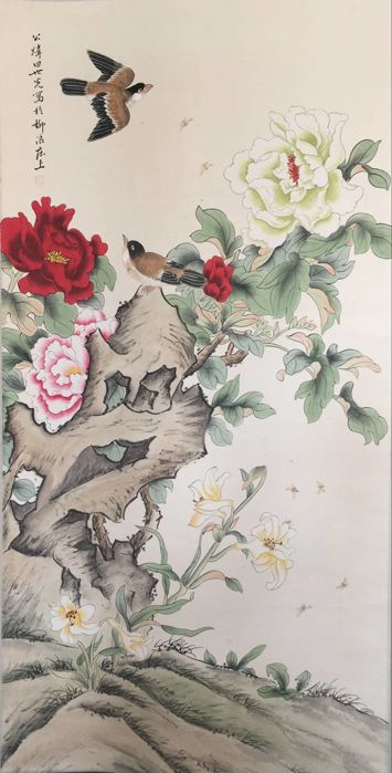 Hand-painting scroll painting,made after Tian Shiguang - China - late 20th century