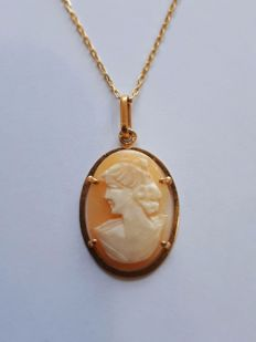 14Ct Gold Chain & Cameo Pendant