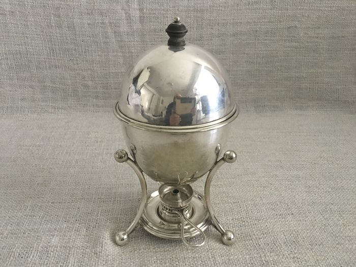 Vintage English hand chased silver plated covered egg warmer coddler . Maker JAMES DIXON COMPLETE . 1900s