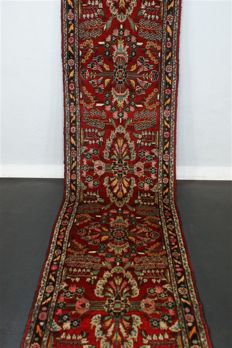 Hand-knotted original Persian carpet, oriental Lilian, approx. 376 x 79 cm, good condition, Iran