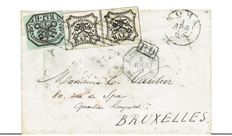 Papal States 1863 - 6 baj, e 8 baj in pair on letter from Rome to Brussels - Sass. No. 7 and 9