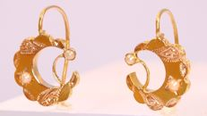 Antique Victorian half moon sickle gold pearl earrings - anno 1880. **No reserve price**