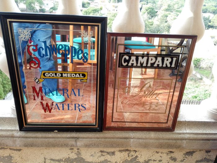 Lot of 2 advertising mirrors with frame