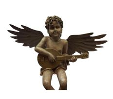 Pottery angel with banjo and with metallic patinated wings - France - early 20th century