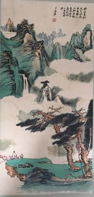 Hand painted scroll painting, made after Zhang Daqian - China - late 20th century