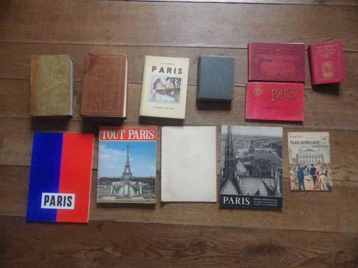 Lot of 12 old books on the city of Paris - 1827 / 1993